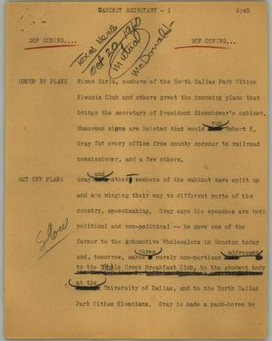 Primary view of object titled '[News Script: Cabinet secretary]'.