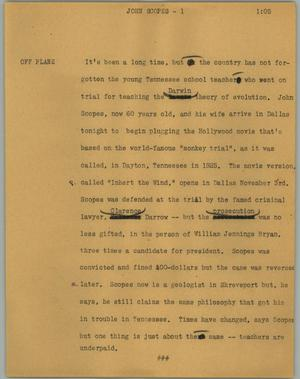 Primary view of object titled '[News Script: John Scopes]'.