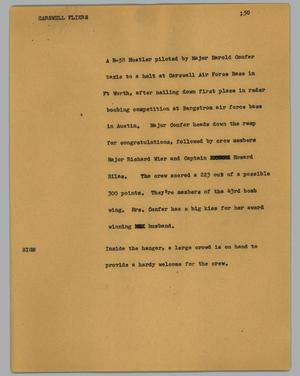 Primary view of object titled '[News Script: Carswell fliers]'.
