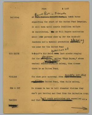 Primary view of object titled '[News Script: Fund]'.