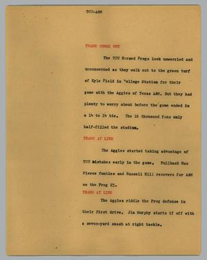 Primary view of object titled '[News Script: TCU-A&M]'.