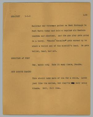 Primary view of object titled '[News Script: Shootout]'.