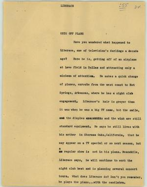 Primary view of object titled '[News Script: Liberace]'.