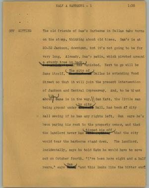 Primary view of object titled '[News Script: Half a barbecue]'.