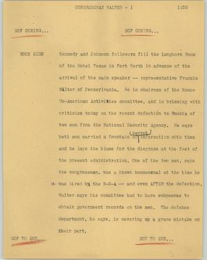 Primary view of object titled '[News Script: Congressman Walter]'.