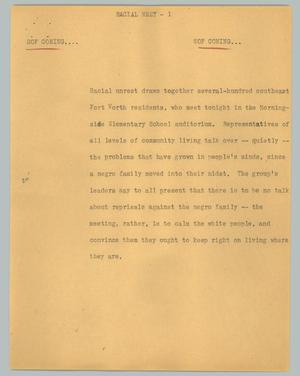 Primary view of object titled '[News Script: Racial meet]'.