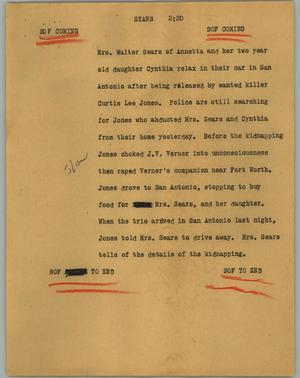 Primary view of object titled '[News Script: Sears]'.