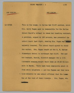 Primary view of object titled '[News Script: Negro teacher]'.