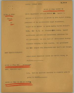 Primary view of object titled '[News Script: Thayer (Texas News)]'.