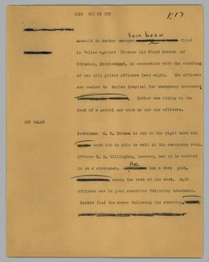 Primary view of object titled '[News Script: Cops cut by nut]'.