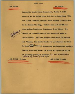 Primary view of object titled '[News Script: Dodd]'.