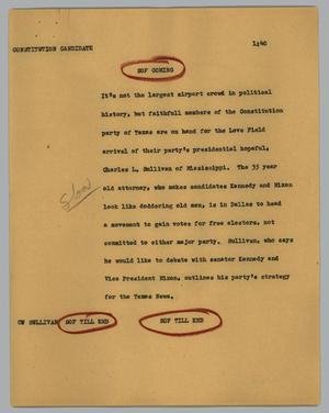 Primary view of object titled '[News Script: Constitution candidate]'.