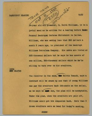 Primary view of object titled '[News Script: Bankrupsy hearing]'.