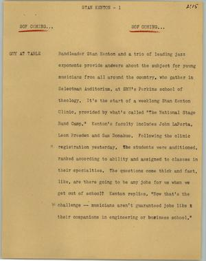 Primary view of object titled '[News Script: Stan Kenton]'.
