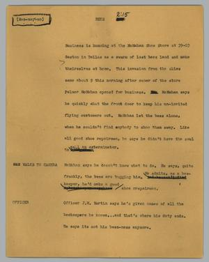 Primary view of object titled '[News Script: Bees]'.