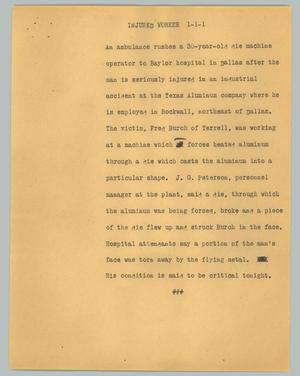 Primary view of object titled '[News Script: Injured worker]'.