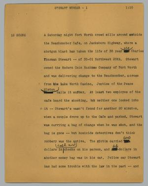 Primary view of object titled '[News Script: Stewart murder]'.
