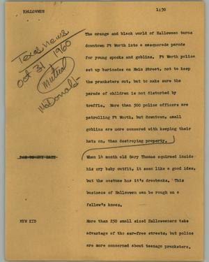 Primary view of object titled '[News Script: Halloween]'.
