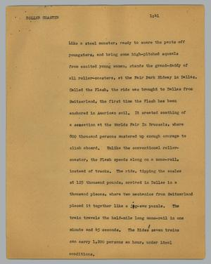 Primary view of object titled '[News Script: Roller coaster]'.