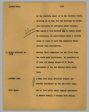 Primary view of object titled '[News Script: Cadets drill]'.