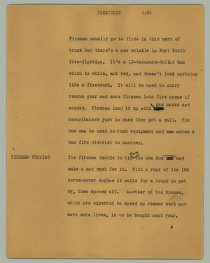 Primary view of object titled '[News Script: Firetruck]'.