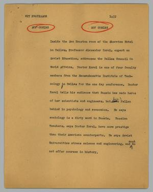 Primary view of object titled '[News Script: MIT professor]'.