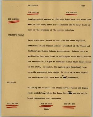 Primary view of object titled '[News Script: Cattlemen]'.
