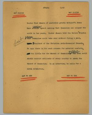 Primary view of object titled '[News Script: Shwarz]'.