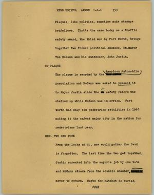 Primary view of object titled '[News Script: News briefs: award]'.
