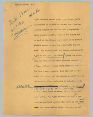 Primary view of object titled '[News Script: Sitdown strike]'.