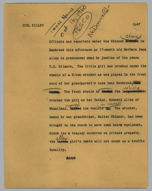 Primary view of object titled '[News Script: Girl killed]'.