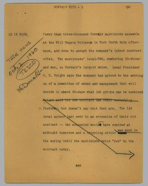 Primary view of object titled '[News Script: Convair vote]'.