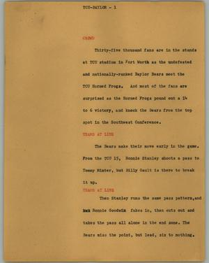 Primary view of object titled '[News Script: TCU-Baylor]'.