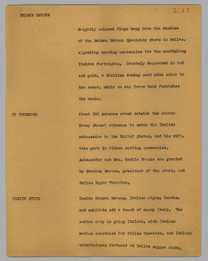 Primary view of object titled '[News Script: Neiman Marcus]'.