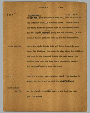 Primary view of object titled '[News Script: Birthday]'.