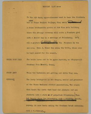 Primary view of object titled '[News Script: Wedding]'.