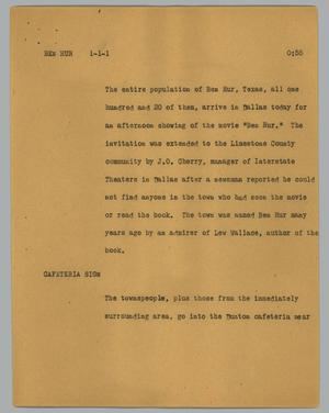 Primary view of object titled '[News Script: Ben Hur]'.