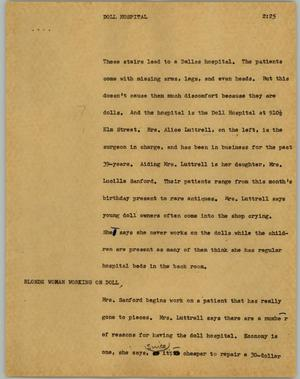 Primary view of object titled '[News Script: Doll hospital]'.