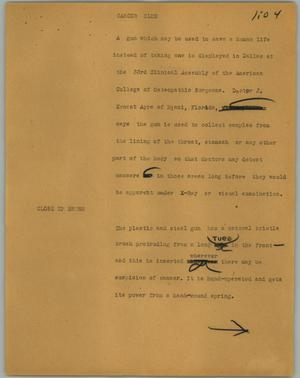 Primary view of object titled '[News Script: Cancer club]'.