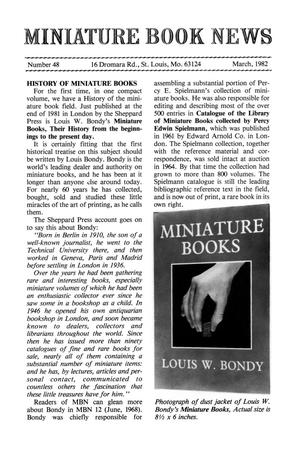 Primary view of object titled 'Miniature Book News # 48: 1982 March'.