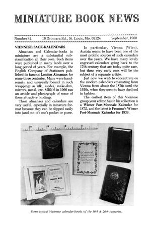 Primary view of object titled 'Miniature Book News # 42: 1980 September'.