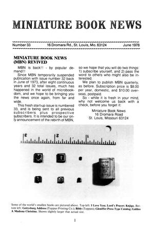 Miniature Book News # 33: 1978 June