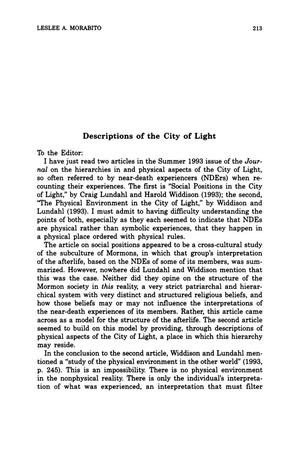 Primary view of object titled 'Letter to the Editor: Descriptions of the City of Light'.