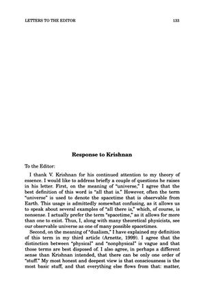 Primary view of object titled 'Letter to the Editor: Response to Krishnan'.