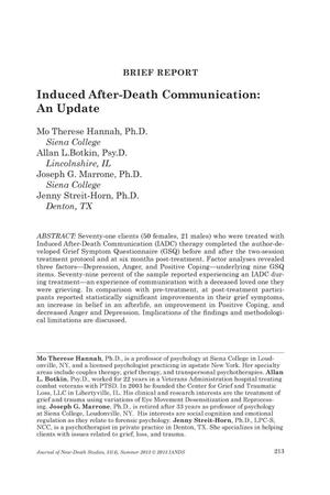 Primary view of object titled 'Brief Report: Induced After-Death Communication: An Update'.