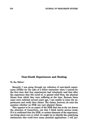 Primary view of object titled 'Letter to the Editor: Near-Death Experiences and Healing'.
