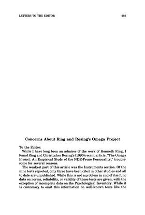 Primary view of object titled 'Letter to the Editor: Concerns About Ring and Rosing's Omega Project'.