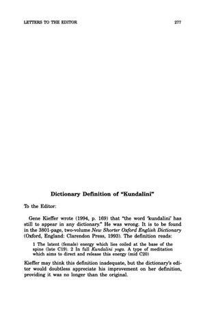 "Primary view of object titled 'Letter to the Editor: Dictionary Definition of ""Kundalini""'."