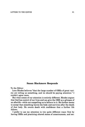 Primary view of object titled 'Letter to the Editor: Susan Blackmore Responds'.