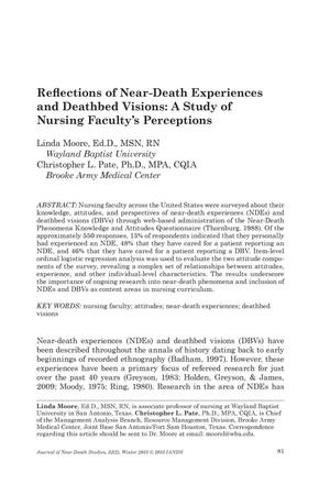 Primary view of object titled 'Reflections of Near-Death Experiences and Deathbed Visions: A Study of Nursing Faculty's Perceptions'.